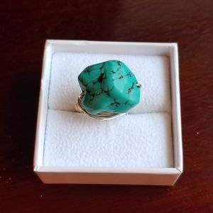 Turquoise & silver wrapped ring size 6